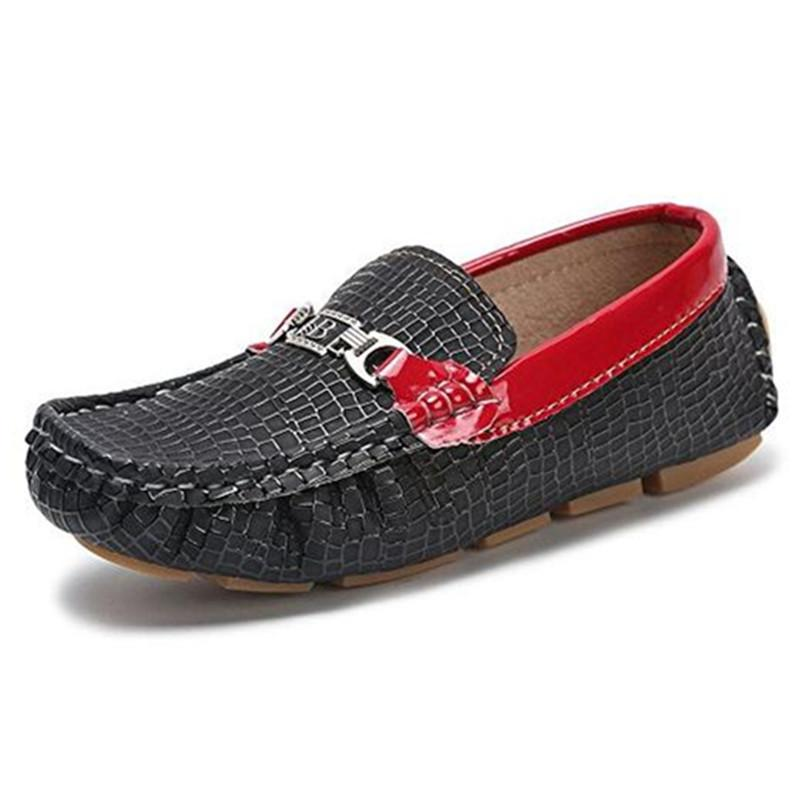 JABASIC 2019 New Metal Decoration School Shoes Boys Flat Heel Anti-slippery Loafers Casual Kids Slip-on Pu Leather