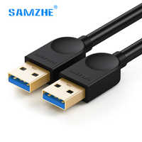 Samzhe usb para usb 3.0 cabo macho para macho cabo de extensão usb3.0 super velocidade para radiador disco rígido carro mp3 webcam câmera digital