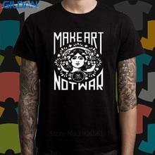 2017 New Fas hions Buy Shirts Online Office Men O-Neck Short-Sleeve Make Art Not War Slogan Symbol Tee