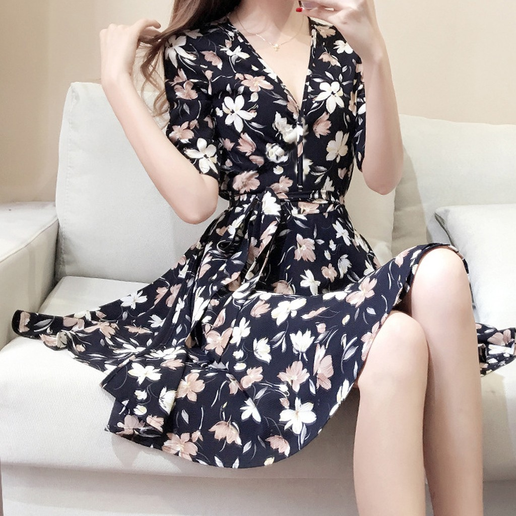 Summer Patry Dress Women Clothes 2019 Elegant Black Floral Dress Sexy Club Dresses Woman Party Night Casual Korean V Neck Dress
