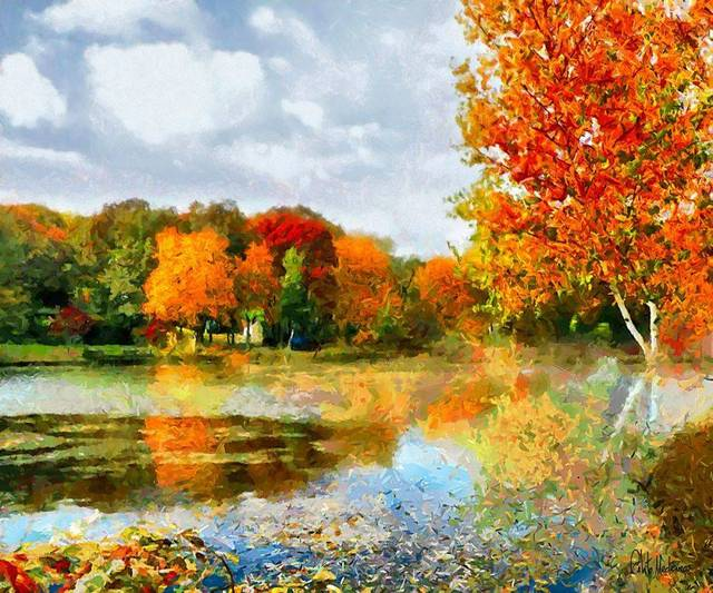 Contemporary Wall Art Picture Landscape Oil Painting for Living Room Home Decor Autumn Landscape by Celito Medeiros Handmade