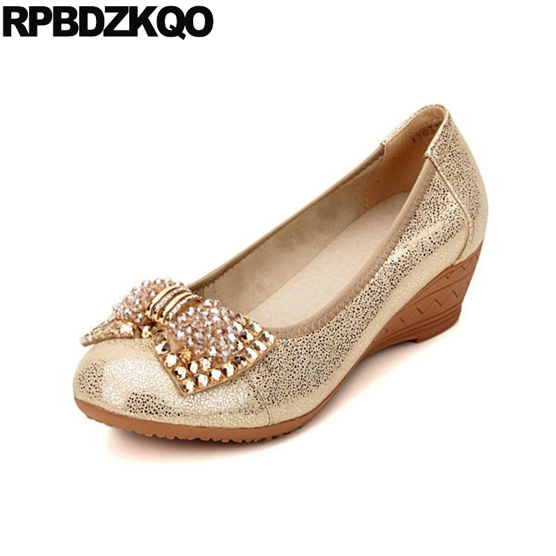 Golden Gold 11 43 Wedge Ladies Rhinestone Mid Heels Shoes Glitter Sequin Round Toe Wedding Medium 10 42 Bow Plus Size Autumn female s lace up bow knot women glitter rivets rome sandal on platform plus size 42 43 round toe girls summer shoes flip flops
