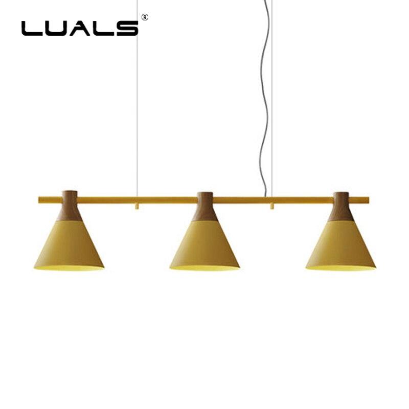 Iskandinav Kolye Lambaları 3 Lamba Restoran Süspansiyon Armatür Modern Kolye Işık Ahşap Deco Asılı Işıklar Kapalı LED Aydınlatma