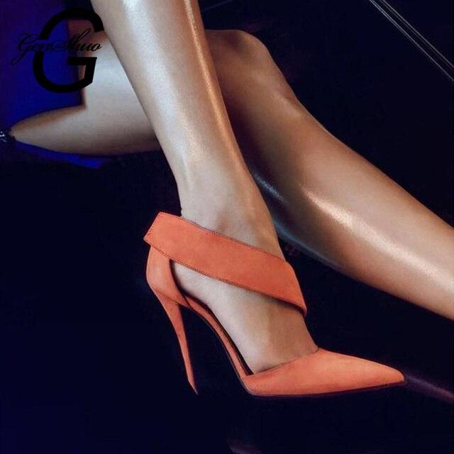 GENSHUO High Heel Sandals Brand Design Sexy Pumps High Heel Women Sandals Elegant Party Shoes for Women Black Orange 12cm