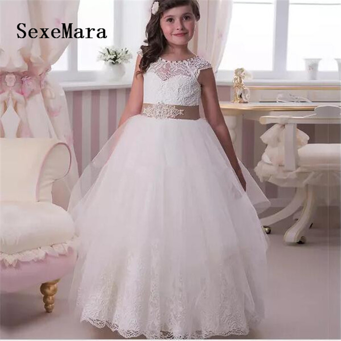 2019 Puffy Ball Gown White Ivory Flower Girls Dress for Wedding Lace Beaded Sash Girls First Communion Dress Any Size ivory white girls first communion gown handmade appliques lace girls birthday gown flower girl dress for wedding party any size