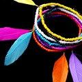 Nueva Multilayer coloridos granos de la semilla de la pluma Bohemia Vintage Antique Feather pulseras y brazaletes cadena de la mujer Retro pulseras regalo