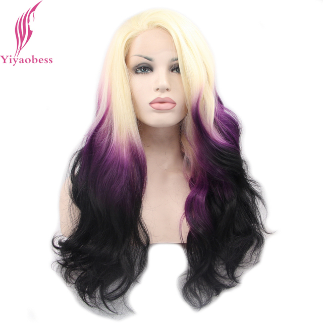 Yiyaobess Heat Resistant Glueless Lace Front Wig Synthetic Blonde Purple Black Colorful Wigs For White Women