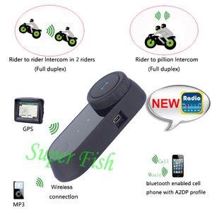 Image 2 - Freedconn motocicleta intercomunicador capacete bluetooth fone de ouvido T COM fm 2 pilotos bt interfone moto + microfone macio