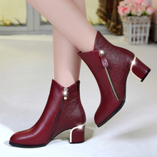 women boots shoes woman bottes femmes women's boots toe Red ankle boot Leather Shoes