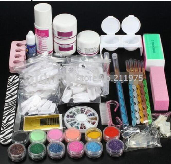Pro Acrylic Nail Art Tips Decorations Glue File Powder Liquid Glitter Brush Pen Tweezer primer Tool Manicure set crystal