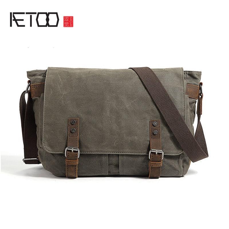 AETOO Men's tide bag college style retro messenger shoulder casual men canvas computer casual canvas satchel men sling bag
