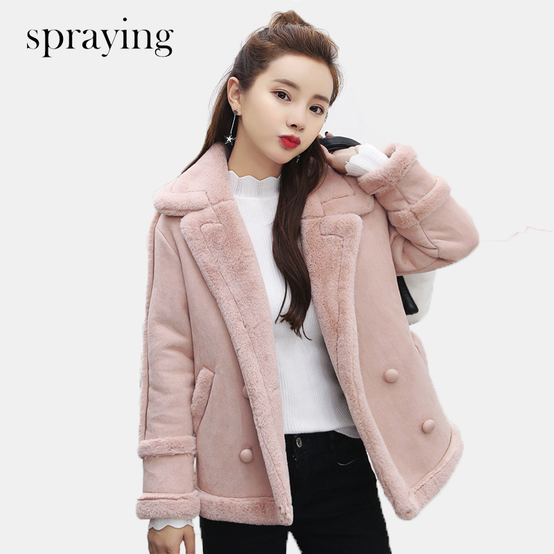 New Fashion fleece warm coat women short parka long sleeve woolen Double Breasted Coat Winter and