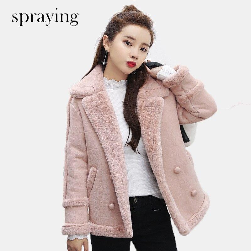 새로운 패션 양털 따뜻한 코트 여성 짧은 파카 긴 소매 모직 더블 브레스트 코트 겨울과 이른 봄 옷-에서파카부터 여성 의류 의  그룹 1