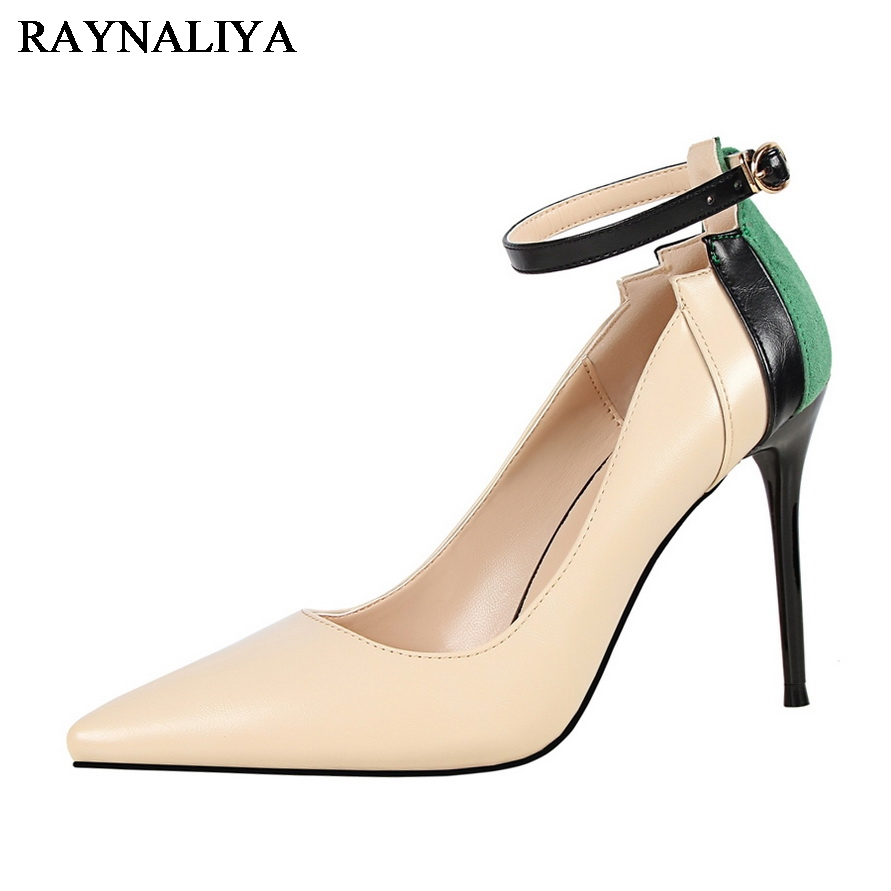 Fashion Women Elegant Shoes Pointed Toe High Heels Designer Women Luxury New Party Buckle Strap Pumps Shoes DS-A0113 memunia flock pointed toe ladies summer high heels shoes fashion buckle color mixing women pumps elegant lady prom shoes