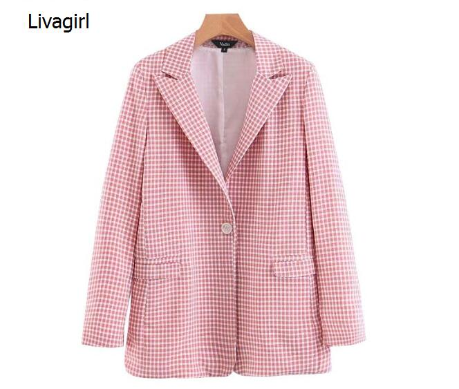 Women Pink Plaid Blazer Pockets Single Button Long Sleeve Female Casual Coats Office Wear Outerwear Chic Tops