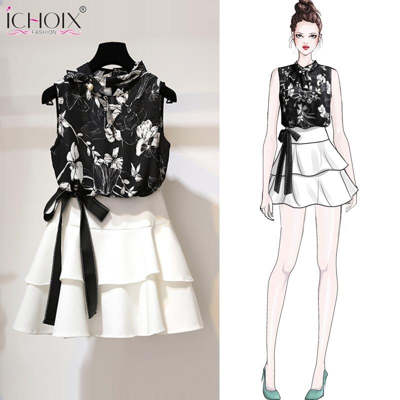 ICHOIX Summer 2 Piece Sets Women Floral Tank And Skirt Set Ruffles Girl Outfits Beach Clothes 2019