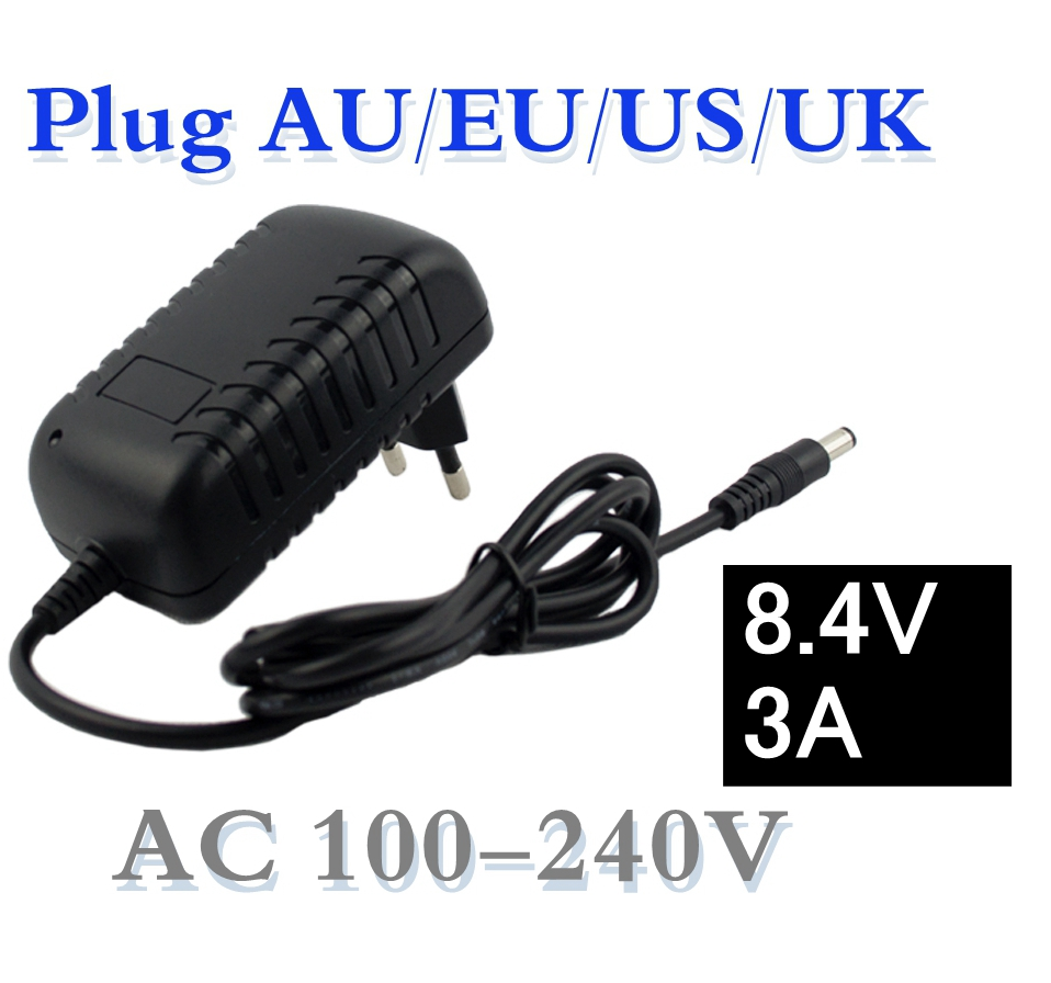 8.4V 3A 5.5*2.1mm AC DC Power Supply Adapter Charger For 7.2V 7.4V 8.4V 18650 Li-ion Li-po Battery Free Shipping 883 03 001 ac power line filters 3 3a 2 16 x 2 28] mr li