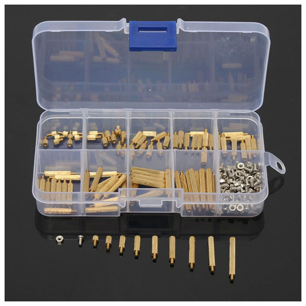 270Pcs M2 3-25mm Male to Female Brass PCB Standoff Screw Nut Assortment Kit Set 230pcs m2 5 2 5mm brass standoff spacer male x female with m2 5 6 pan head screws and m2 5 hex nut assortment kit