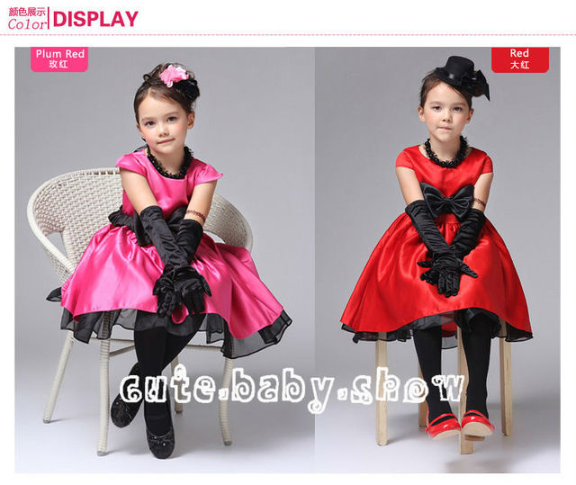2014 Hot Selling Kids Girls Dresses Fashion Girl Children Outerwear  Lace Dress with Bow 2 Colors to choose!