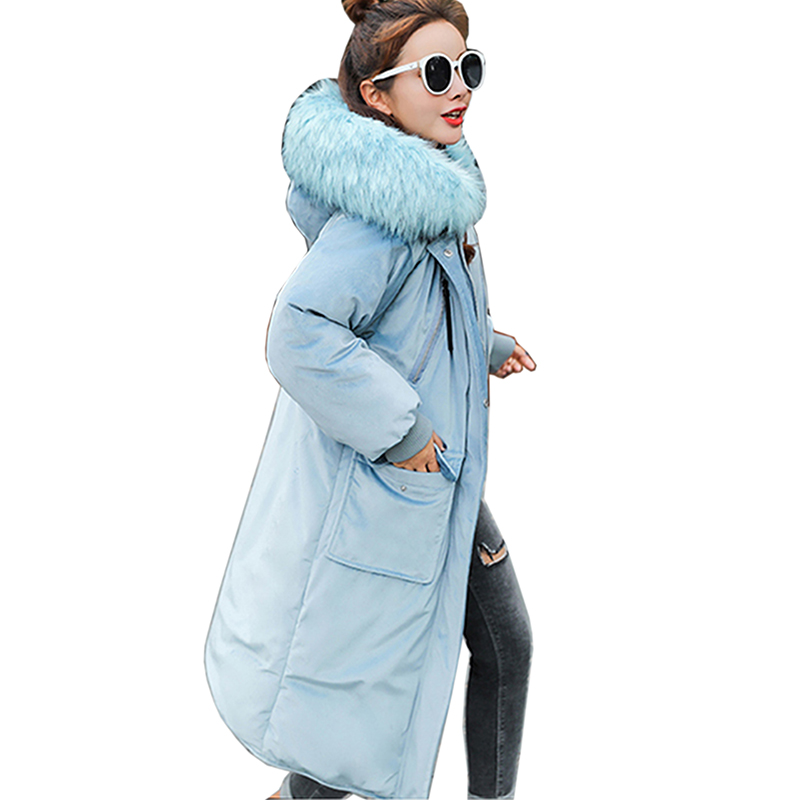 Winter New Down Padded Jacket Women thicken warm Hooded Large size Outwear 2018 Autumn   Parka   Slim Long Hooded Cotton Coat Female