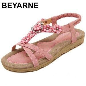 Image 1 - BEYARNE Neue Böhmischen Stil 2018 Sommer Frauen Schuhe Mode Frauen Sandalen Flache Ferse Marke Strand Sommer Schuhe Damen Süße