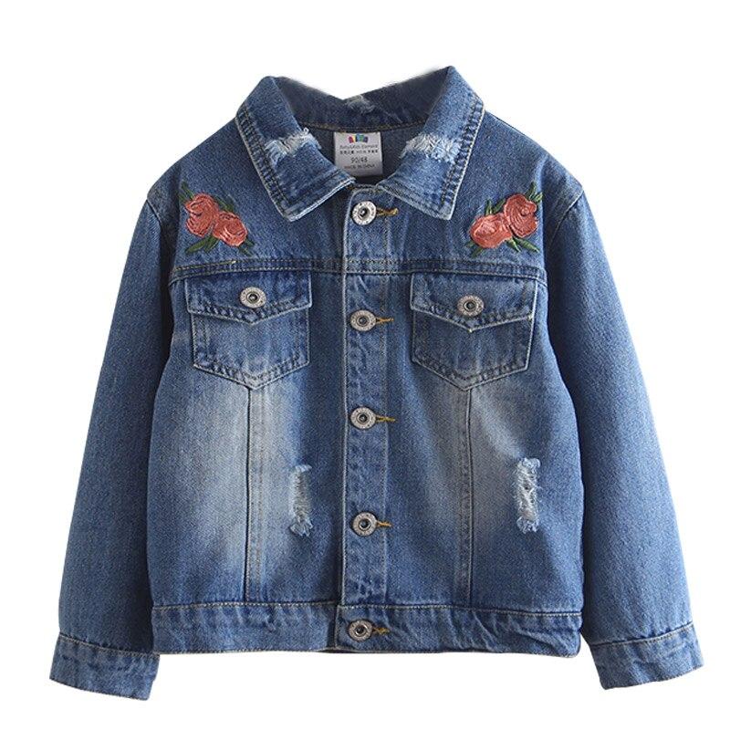 Girls Jean Jackets Kids Lace Coat Long Sleeve Embroidery Button Denim Jackets Girls 2-8T Kids Winter Jacket Girls Winter Coat