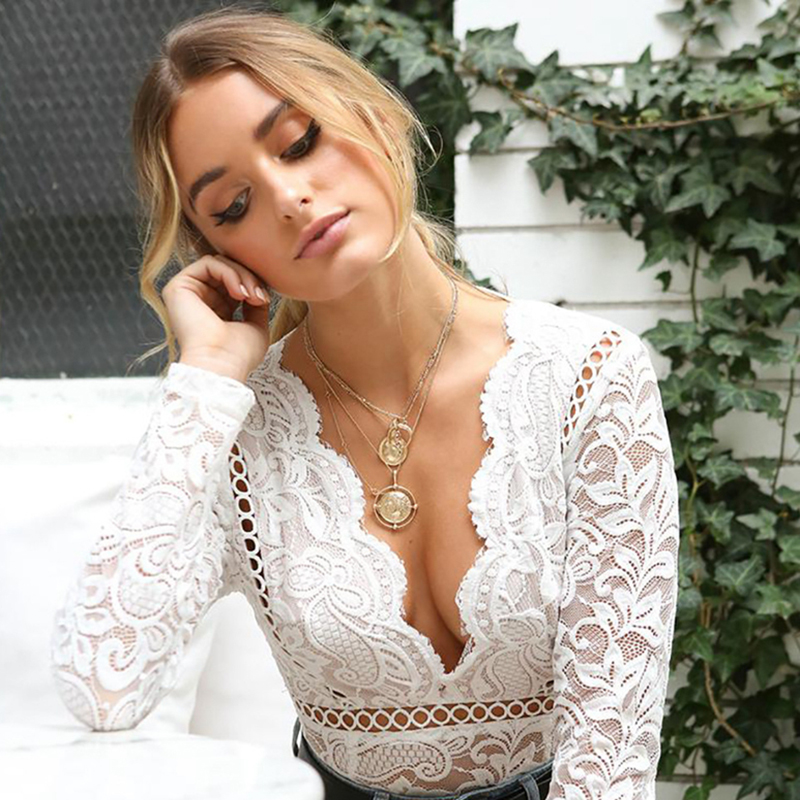 5144bf7284 Sexy White Lace Bodysuit Women Hollow Out Long Sleeve Embroidery Floral Bodycon  Rompers Women Deep V-Neck Guipure Boho Bodysuit – Thanks Australia