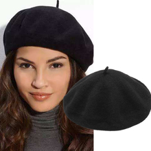 Berets Hat Women Winter Femme Solid Color Beret Cap Girl Female Women's Hats French Artist Warm Wool Black Baret Beanie WH021
