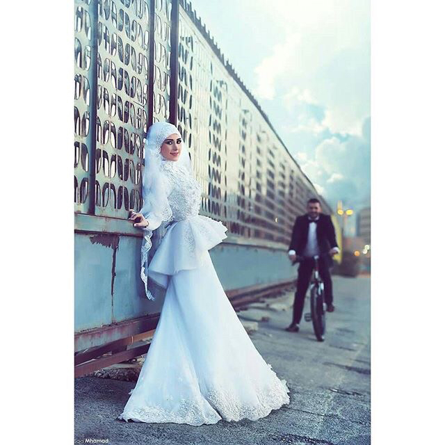d23e8616fbd6 Said Mhamad Mermaid Long Sleeves White Lace Appliques High Neck Muslim Women  Bride Gowns Wedding Dresses-in Wedding Dresses from Weddings   Events on ...