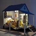 Бесплатная доставка DIY большая вилла деревянный дом миниатюра побережье счастья руководство собраны модель подарок на день рождения кукольный домик игрушка