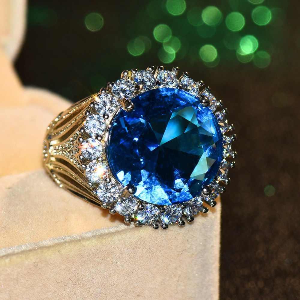 الفاخرة الإناث كبير الأزرق حجر خاتم فضية اللون خواتم الزفاف للنساء 2019 السنة الجديدة خاتم الخطوبة الموضة هدايا