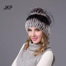 Зима рекс кролика hat для женщин с лисий мех pom poms лучшие вязаные шапочки меховые шапки