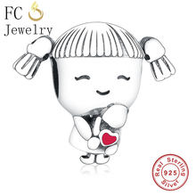 FC Jewelry Fit Original Pandora Charm Bracelet 925 Sterling Silver Little Girl Pigtail Hug Red Enamel Heart Bead Making Berloque(China)