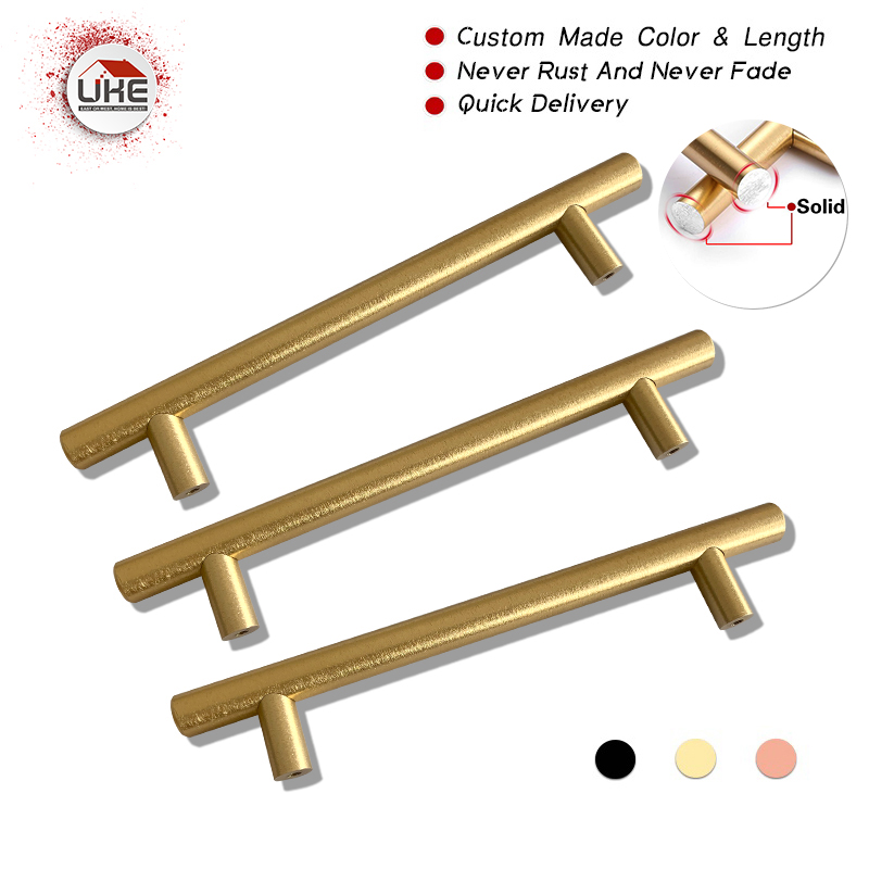 Free Shipping Never Rust 96mm T Shaped Brushed Brass Cabinet Pull Handles kitchen cabinet door pull handle home deco accessories