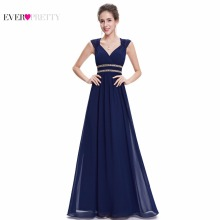 Formal Evening Dresses Long EP08697 Ever Pretty Women Elegant Navy Blue White V neck Sleeveless Empire Evening Dresses 2017 New