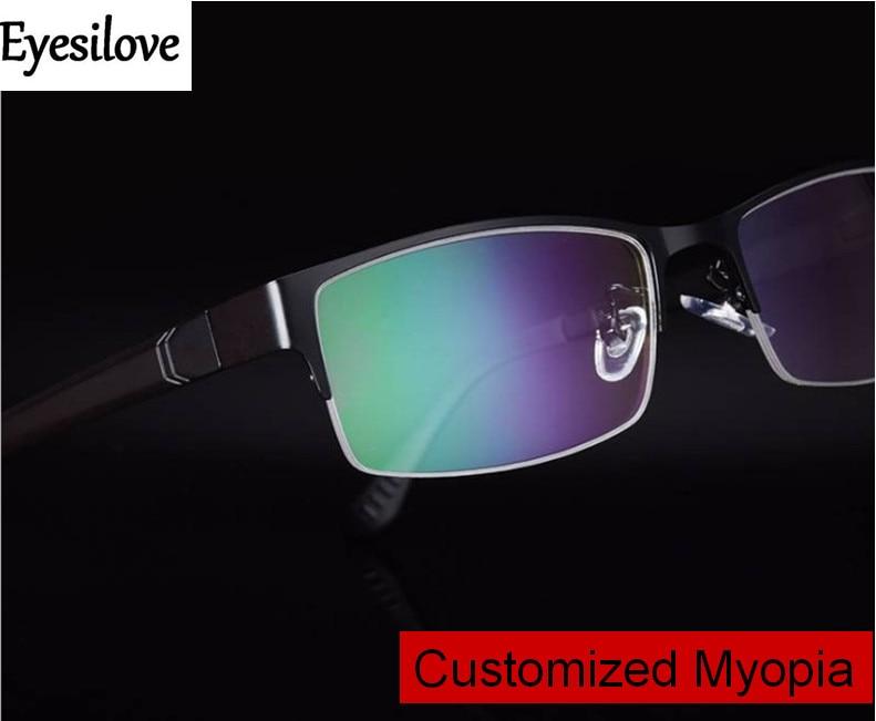 Eyesilove men's myopia glasses fashion half-rim business Nearsighted Glasses customized prescription eyeglasses single vision