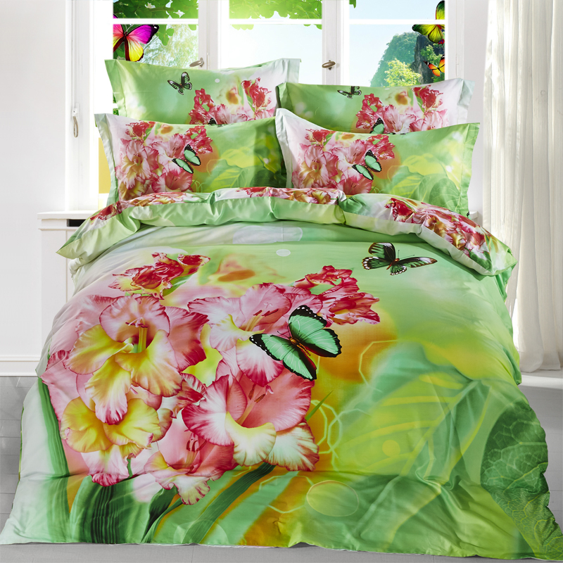 Pink Flower and Butterfly Green Bedding Set Queen Size 100% Cotton Floral Printed Bedlinens Duvet Cover Pillowcase Bed in a BagPink Flower and Butterfly Green Bedding Set Queen Size 100% Cotton Floral Printed Bedlinens Duvet Cover Pillowcase Bed in a Bag