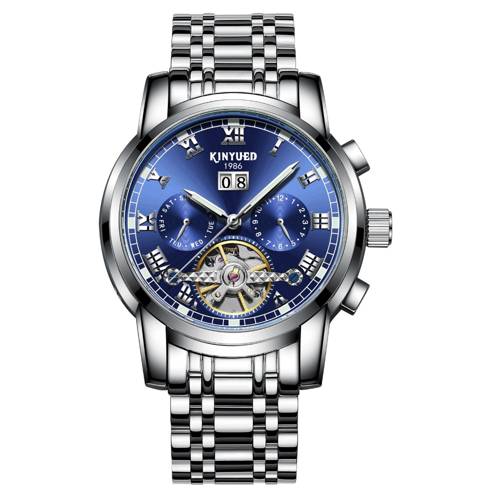 New 2018 Luxury Men's Watches Ocean Blue Sapphire Tourbillon Automatic Watches Men Famous Top Brand KINYUED Mechanical Watches-in Mechanical Watches from Watches    3
