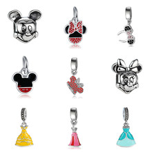 New Silver Plated Bead Charm Lovely Princess Cinderella Dress Cartoon Mouse DIY Pendant Dangles Fit Women Pandora Bracelets Gift(China)