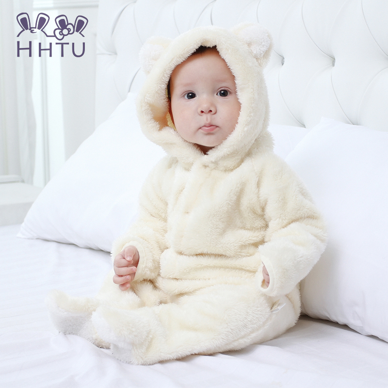 HHTU Spring Autumn Baby Clothes Flannel Baby Boy Clothes Cartoon Animal Jumpsuit Baby Girl Rompers Baby Clothing Pajamas