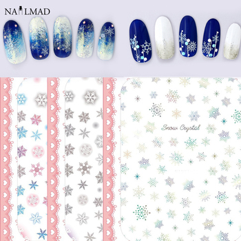 1 sheet Xmas Nail Art Stickers Snowflake 3D Nail Adhesive Stickers Snowman Nail Decals Sticker image