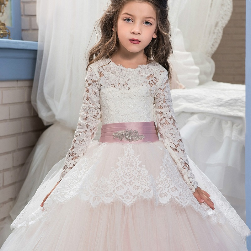 Elegant Flower Girl Petal Lace Party Dress New Double Lace Lace Long Sleeve Winter Ball Flower Boy Penny Dress Wedding Dress-in Flower Girl Dresses from Weddings & Events    3