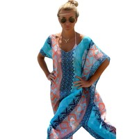 2017 Geometric Print Dress Summer Poncho Women Bohemian Style Beach Kaftan Long Tunics Oversize Loose Vestido
