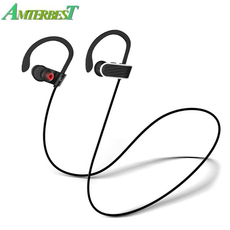 AMTERBEST ES7 Sport Running Bluetooth Earphone Earhook Noise Cancelling IPX4 Waterproof Wireless Headphone Ear Hook with Mic hoco es7 bluetooth grey