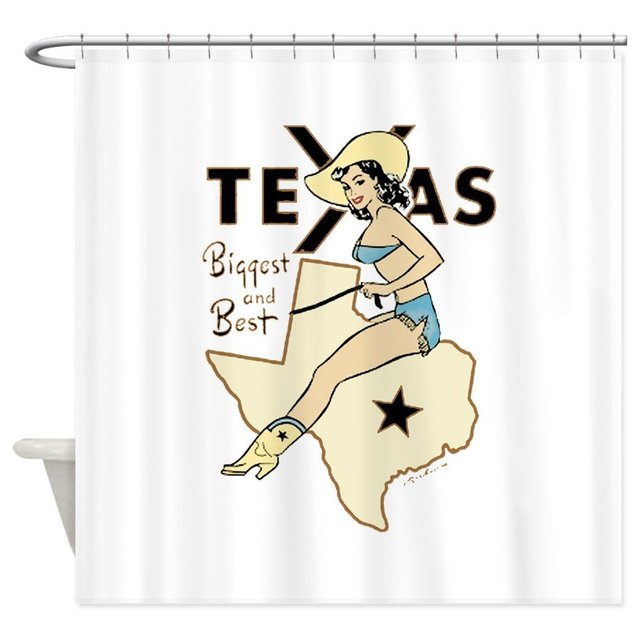 Our House Vintage Texas Pinup Cowgirl Shower Curtain Decorative Fabric Set And Floor Mat