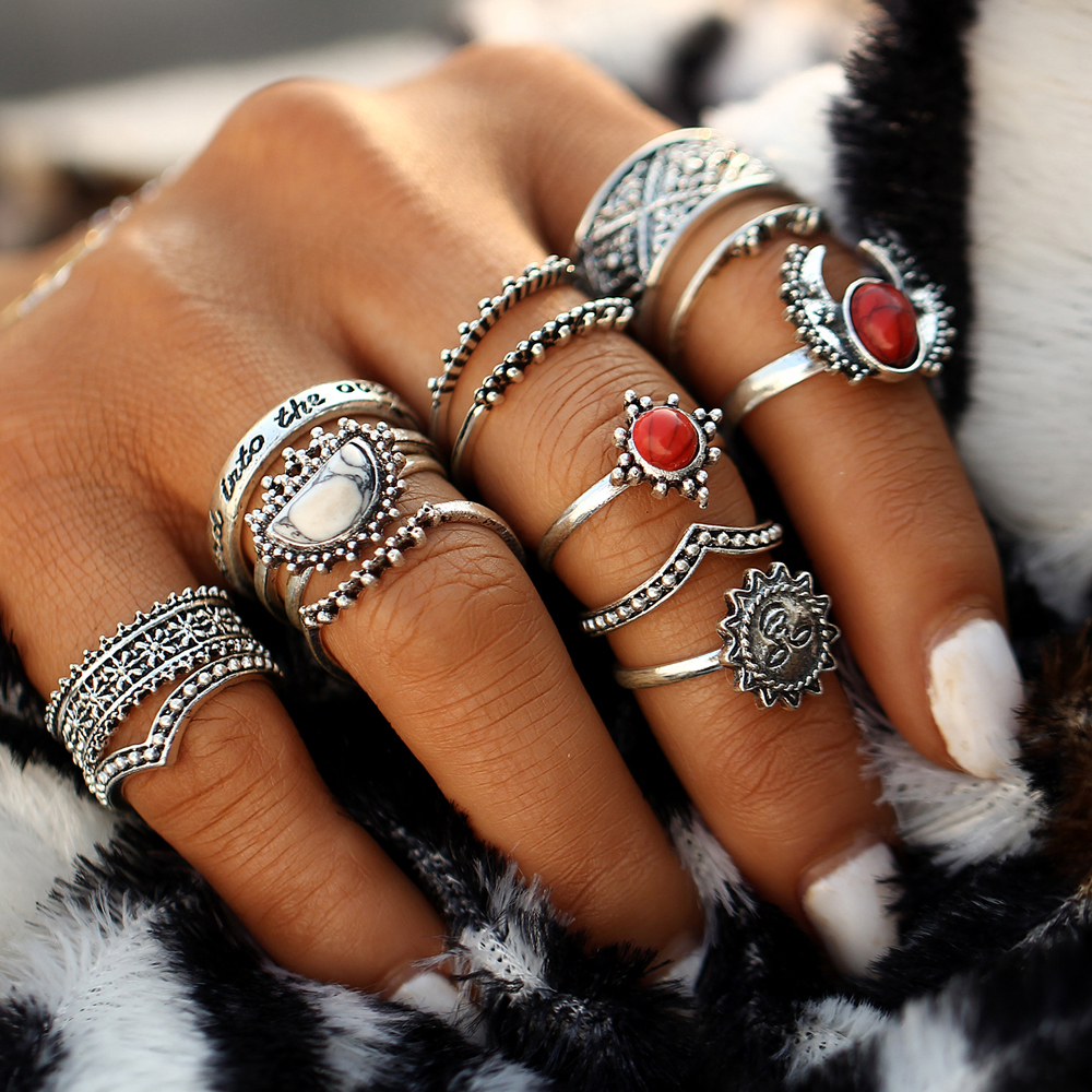 Bohemian finger rings set 2