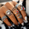 IF ME Vintage Bohemian Midi Finger Rings Set for Women Moon Sun Ethnic Red Natural Stone Knuckle Rings Jewelry Gift 14pcs/set 2
