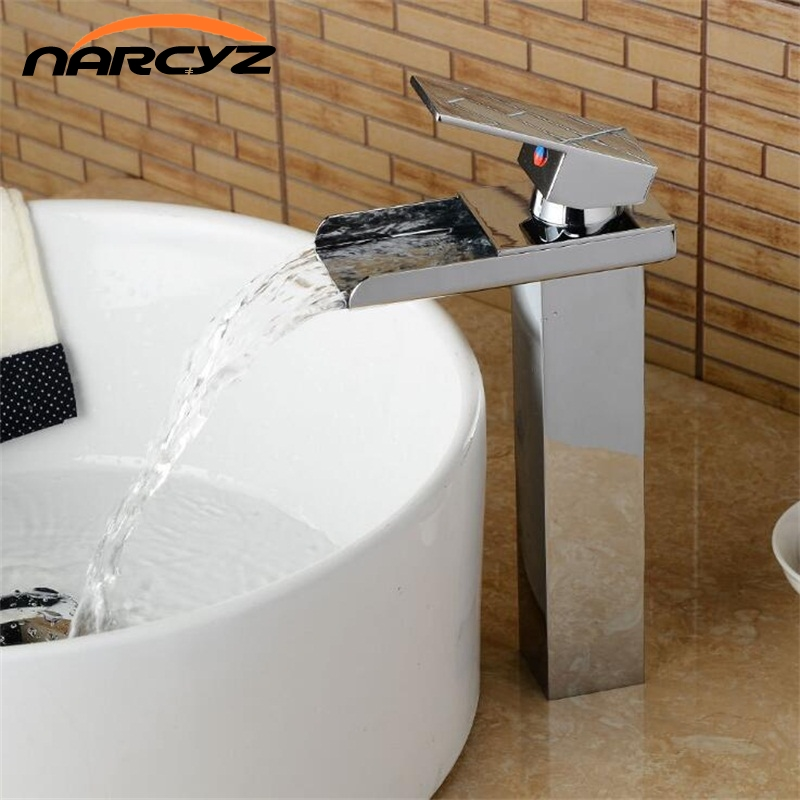 Free Shipping Basin Faucet Chrome Deck Temperature Controlled Bathroom Sink Faucet Waterfall Crane Mixer Water Tap