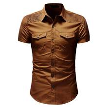 JAYCOSIN mannen Casual Slim Fit Button Shirt Met Pocket Korte Mouwen Tops Blouse z0807 8.23(China)