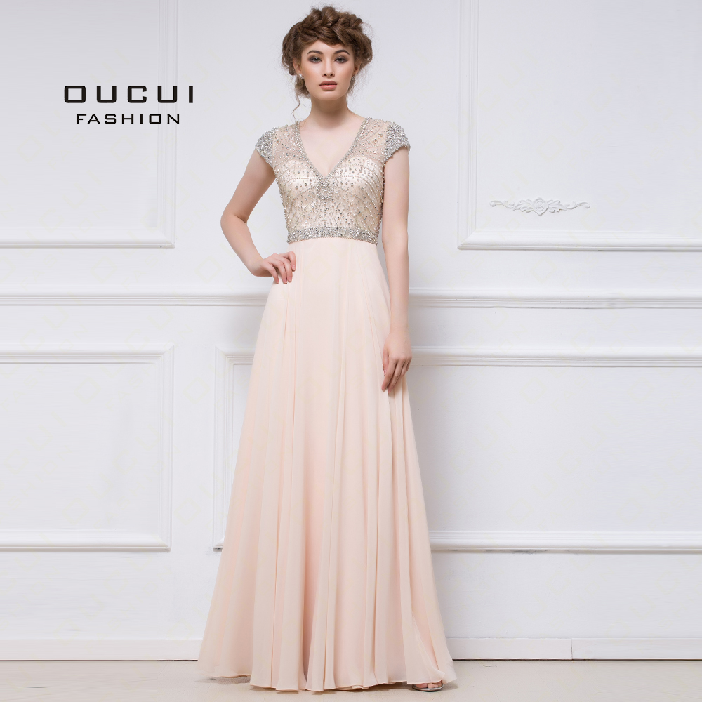 Real Photo A Line Hand Work Chiffon Formal Shinning Beading Hand Work Prom Dress OL103020